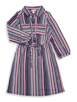 Girls Striped WaistTie Shirt Dress
