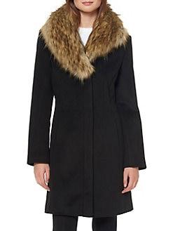 61dcb74eb041 QUICK VIEW. Ellen Tracy. Faux Fur Shawl Collar Walker Coat