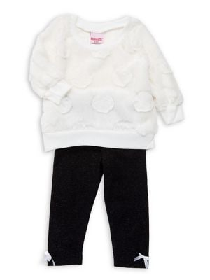 Baby Girls TwoPiece Faux Fur Top  Metallic Pants Set