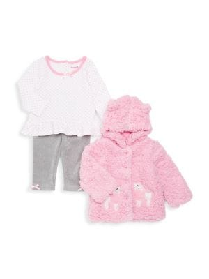 Baby Girls ThreePiece Plush Hooded Jacket Polka Dot Peplum Top  Bow Pants Set
