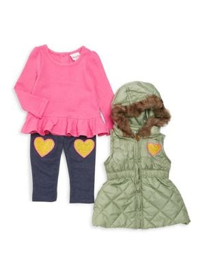 Little Girls ThreePiece Faux Fur Hooded Jacket Cotton Peplum Top  Pants Set
