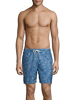 42ff4591c6 Tropical Printed Swim Trunks OCEAN TEAL. QUICK VIEW. Product image