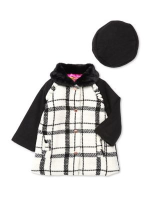 Baby Girls TwoPiece Plaid Coat With Faux Fur Collar  Hat Set