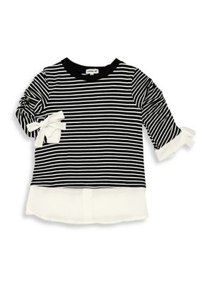 Girl's Striped Bow-Trim...