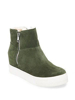 8d0905cc529 Steve Madden - Wanda Faux-Fur Lined High-Top Suede Wedge Sneakers