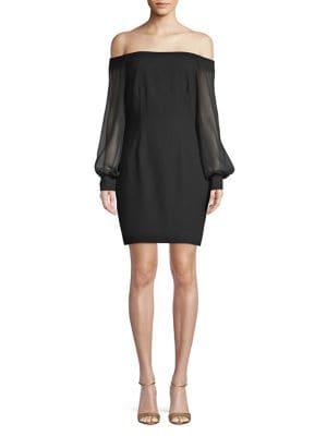 Image of Off-the-Shoulder Crepe Dress