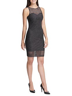 a7a461466e Product image. QUICK VIEW. Guess. Shimmer Shadow Striped Mini Bodycon Dress