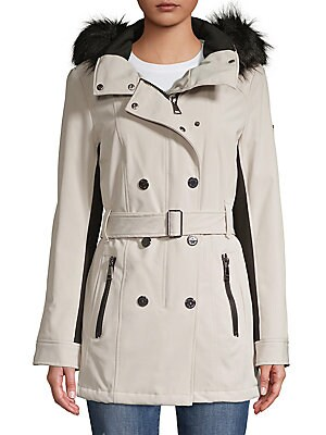 92762b535e80 Calvin Klein - Faux Fur-Trimmed Double-Breasted Coat