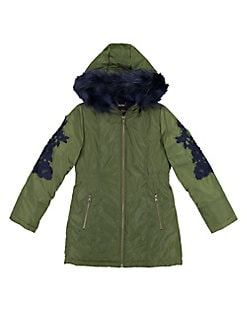 38edb71f1 Girl's Embroidered Faux Fur Trim Parka GREEN. QUICK VIEW. Product image