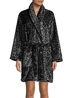 1f3c7e1e21 Leopard Fleece Waist-Tie Robe GREY LEOPARD. Product image