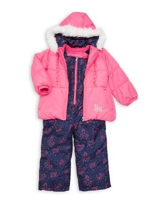 Little Girl's Two-Piece Faux-Fur Trim Unicorn Snowsuit Set (Kids Dmm50) photo