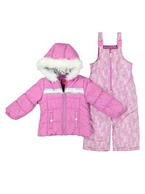 Little Girl's Two-Piece Faux Fur Trim Hologram Snowsuit Set (Kids Dmm50) photo