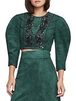 03fe237f184abf QUICK VIEW. BCBGMAXAZRIA. Embroidered Faux Suede Crop Top