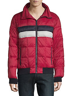 3ad8a240 QUICK VIEW. Tommy Hilfiger. Midweight Striped Puffer Jacket