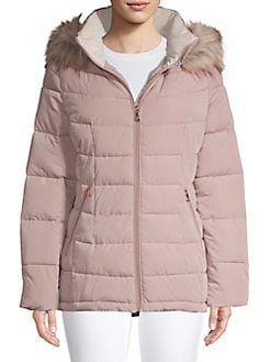 ee26ae6839323 Faux Fur-Trimmed Quilted Jacket FAWN. QUICK VIEW. Product image