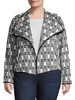 183a7340926 QUICK VIEW. Calvin Klein. Plus Checkered Long Sleeve Jacket