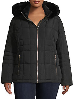 9154e135367b0 Product image. QUICK VIEW. Calvin Klein. Plus Faux Fur-Trimmed Quilted  Jacket