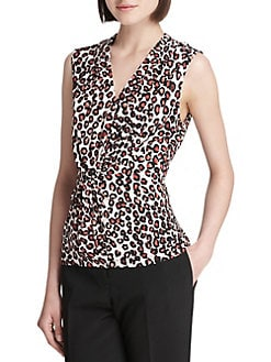 Product image. QUICK VIEW. Donna Karan. Printed V-Neck Top 5ce0c4abc