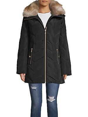 e6451ea9832 MICHAEL Michael Kors - Removable Faux Fur Hood Chevron Quilt Walker Coat