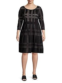 8dc13dff16e QUICK VIEW. Gabby Skye. Plus Printed Scoopneck A-Line Dress