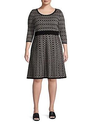 bc2c16e09a4a7 Gabby Skye - Plus Printed Three-Quarter Sleeve A-Line Dress