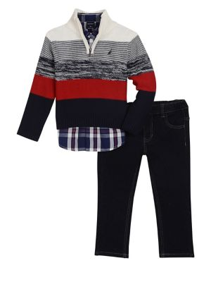Little Boys ThreePiece Cotton Sweater Collared Shirt  Jeans Set
