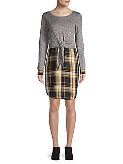 8e265c8ba473 QUICK VIEW. Design Lab. Plaid Tie-Front Sheath Dress
