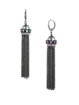Image of 10MM Freshwater Pearl & Chain Tassel Earrings