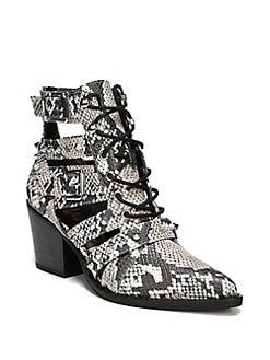 59df32927ef Elana Snakeskin Print Ankle Booties BLACK WHITE. QUICK VIEW. Product image.  QUICK VIEW. Sam Edelman