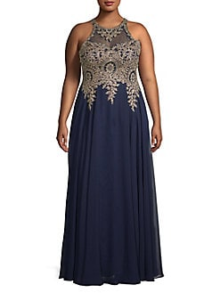 d9fd1439691 Product image. QUICK VIEW. Xscape. Plus Embellished Chiffon Gown