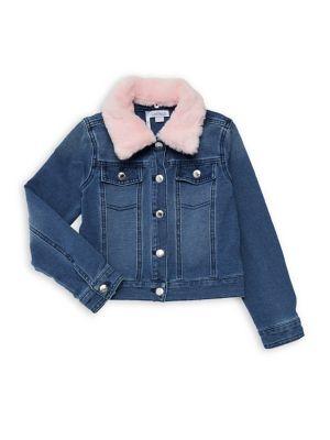Little Girls FauxShearling Collar Denim Jacket