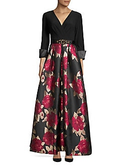 d5a88be4316 Product image. QUICK VIEW. Eliza J. Surplice Pleated Floral Gown.  268.00  ...