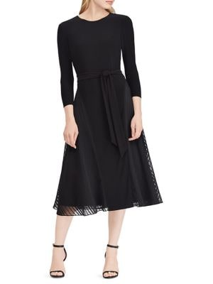 Image of Satin-Trim Fit-and-Flare Dress