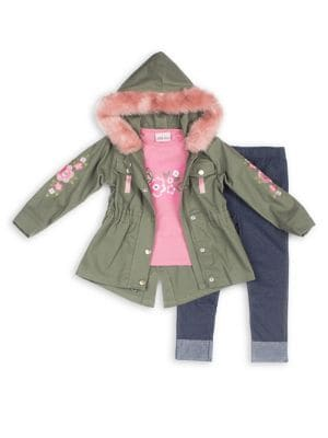 Baby Girls ThreePiece Faux Fur Trimmed Cotton Twill Jacket Awesome Graphic Tee  Denim Leggings Set