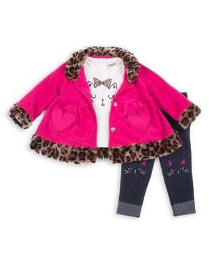 Baby Girls ThreePiece Embellished Faux FurTrimmed Fleece Jacket Graphic Tee  Denim Leggings Set