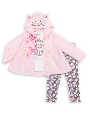 Baby Girls ThreePiece Kitten Satin Bow Fleece Jacket Graphic Tee  FloralPrint Leggings Set