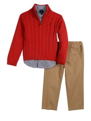 Baby Boys ThreePiece Collared Shirt HalfZip Sweater  Pants Set