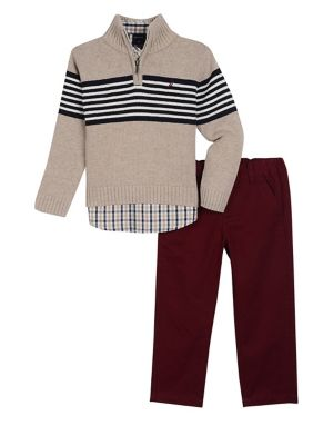 Baby Boys ThreePiece Striped Sweater Plaid Collared Shirt  Classic Pants Set