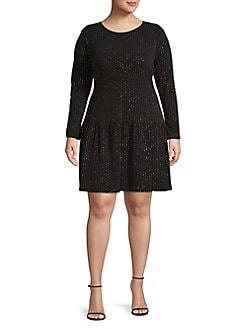 667226023307 QUICK VIEW. MICHAEL Michael Kors. Plus Long Sleeve Dotted Fit- -Flare Dress
