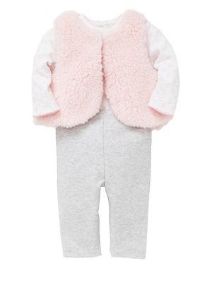 Baby Girls ThreePiece Faux Fur Vest Cotton Bodysuit  Pants Set
