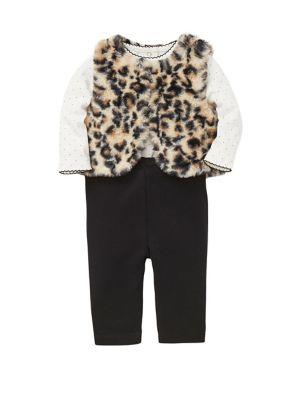 Baby Girls ThreePiece Faux Fur Vest Cotton Bodysuit  Pant Set