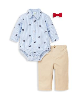 Baby Boys ThreePiece Striped Bodysuit Pants  BowTie Cotton Set