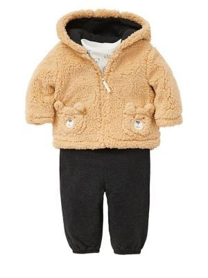 Baby Boys TwoPiece Faux Fur Jacket  Pants Set