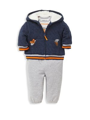 Baby Boys ThreePiece Cotton Jacket Bodysuit  Pant Set