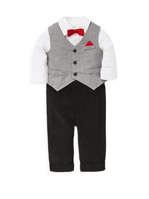 Baby Boys ThreePiece Cotton Vest Bodysuit  Corduroy Pants Set