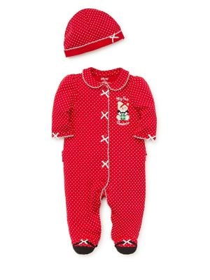 Baby Girls Polka Dots TwoPiece Cotton Hat  Coverall Set
