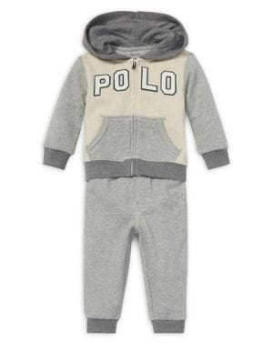 Baby Boys TwoPiece Logo Terry Hoodie  Pants Set