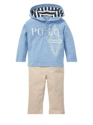 Baby Boys TwoPiece Cotton Hoodie  Twill Pants Set