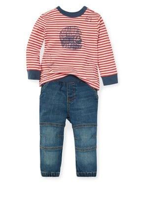 Baby Boys TwoPiece Cotton Tee  Denim Jogger Pants Set