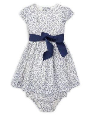 Baby Girls TwoPiece Floral Cotton Dress  Bloomers Set